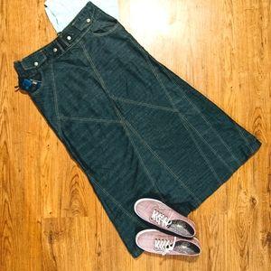 Ladies Long Denim Jean Skirt sz. 8